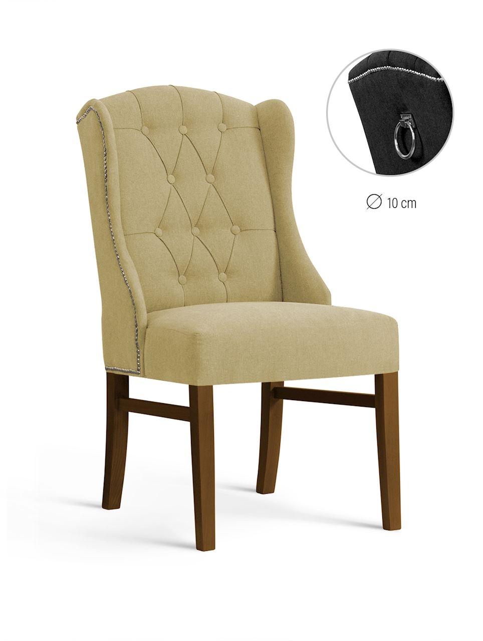 Scaun tapitat cu stofa, cu picioare din lemn Royal Beige / Walnut, l55xA74xH105 cm