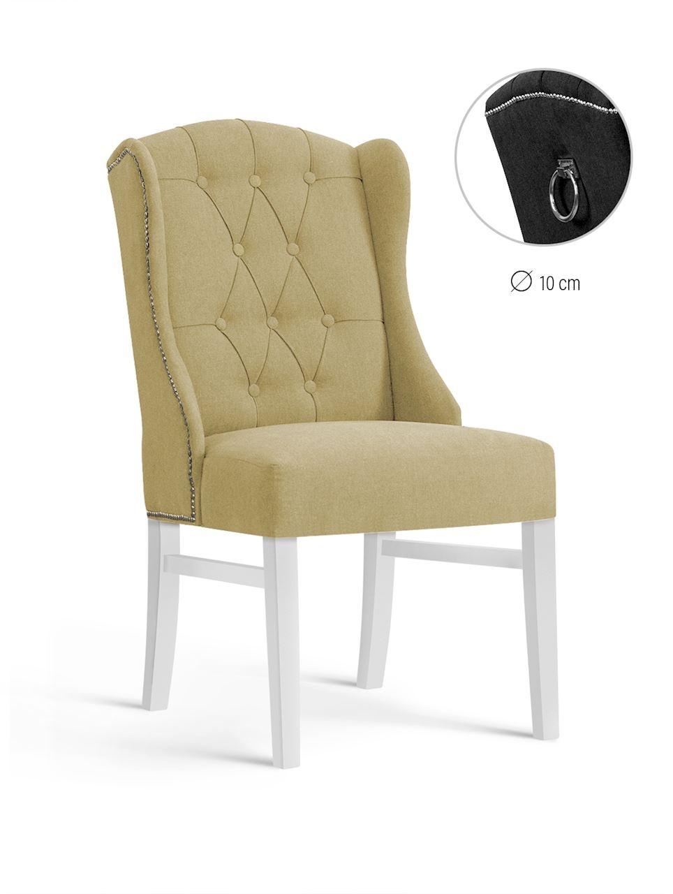 Scaun tapitat cu stofa, cu picioare din lemn Royal Beige / White, l55xA74xH105 cm
