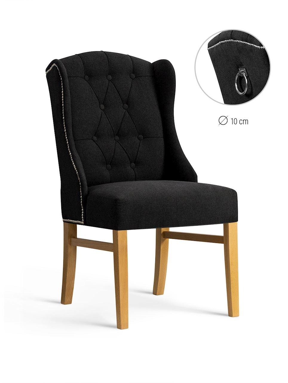 Scaun tapitat cu stofa, cu picioare din lemn Royal Black / Oak, l55xA74xH105 cm
