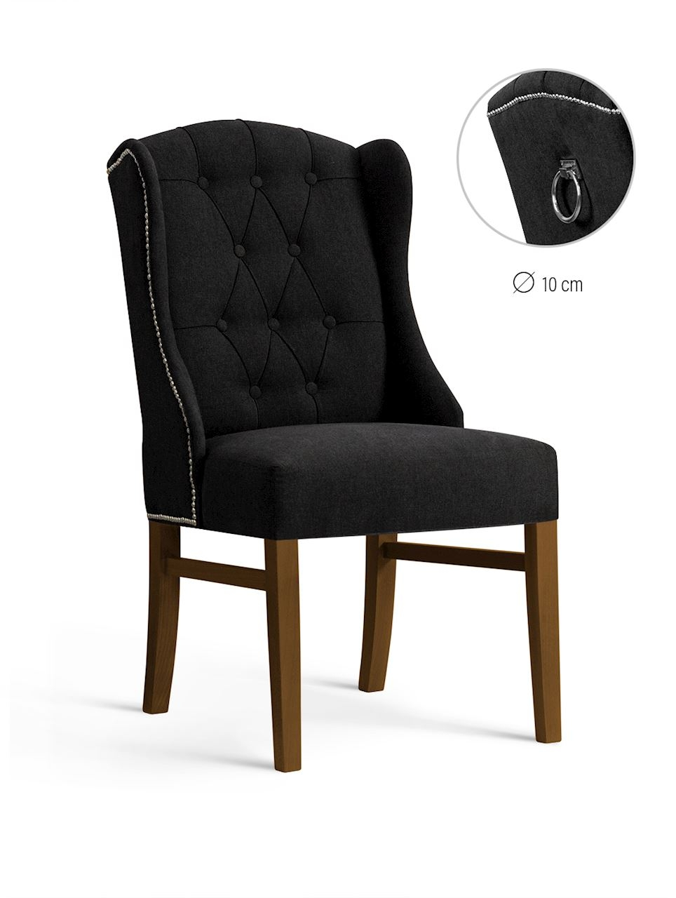 Scaun tapitat cu stofa, cu picioare din lemn Royal Black / Walnut, l55xA74xH105 cm