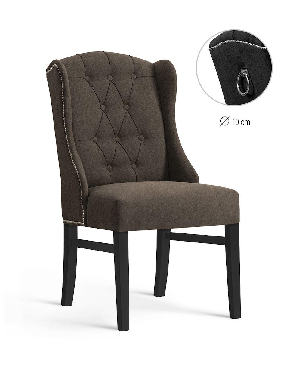 Scaun tapitat cu stofa, cu picioare din lemn Royal Brown / Black, l55xA74xH105 cm