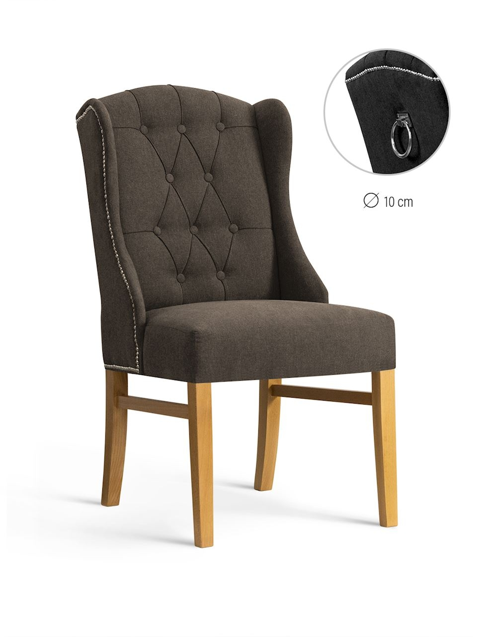 Scaun tapitat cu stofa, cu picioare din lemn Royal Brown / Oak, l55xA74xH105 cm