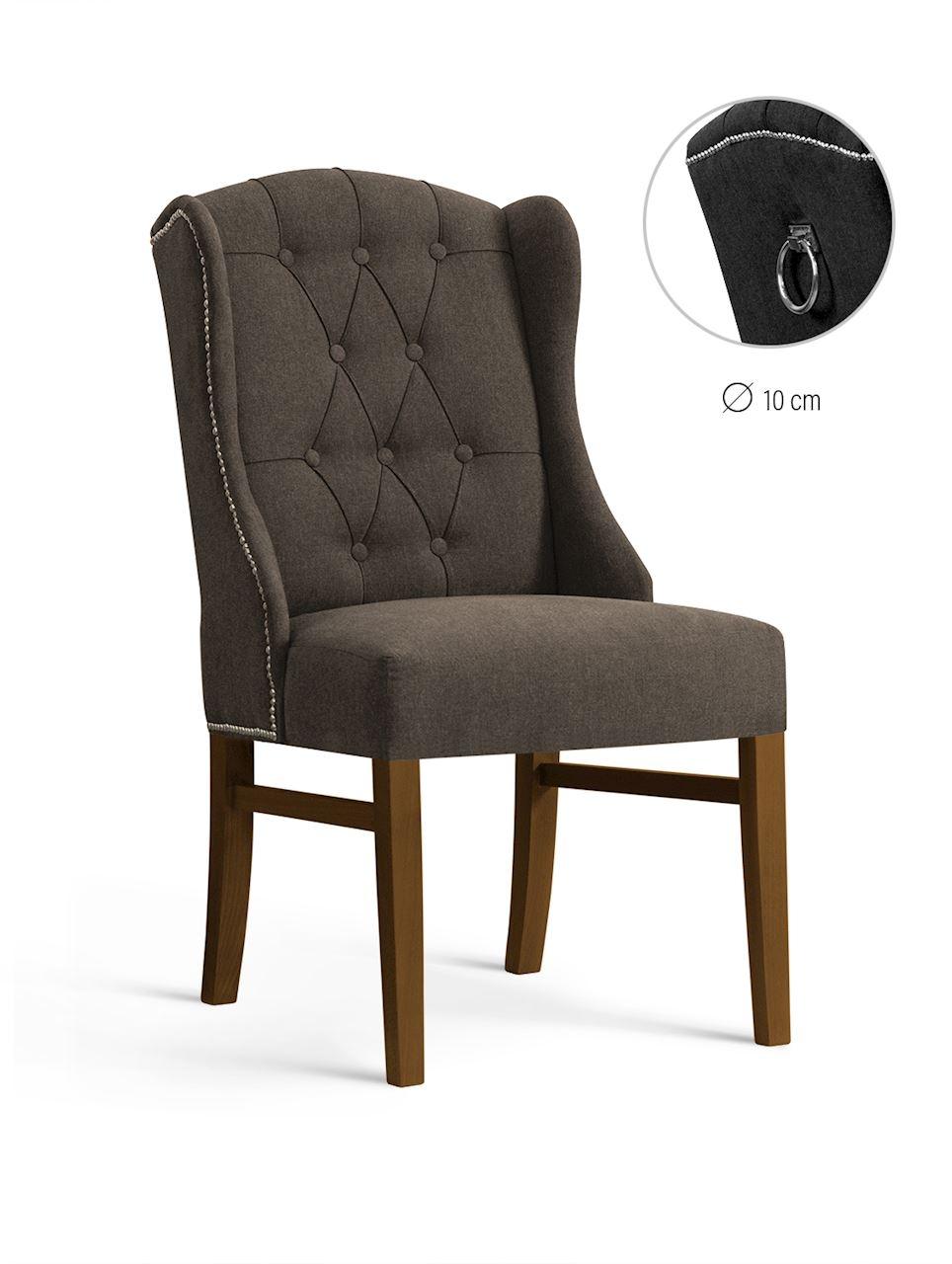 Scaun tapitat cu stofa, cu picioare din lemn Royal Brown / Walnut, l55xA74xH105 cm