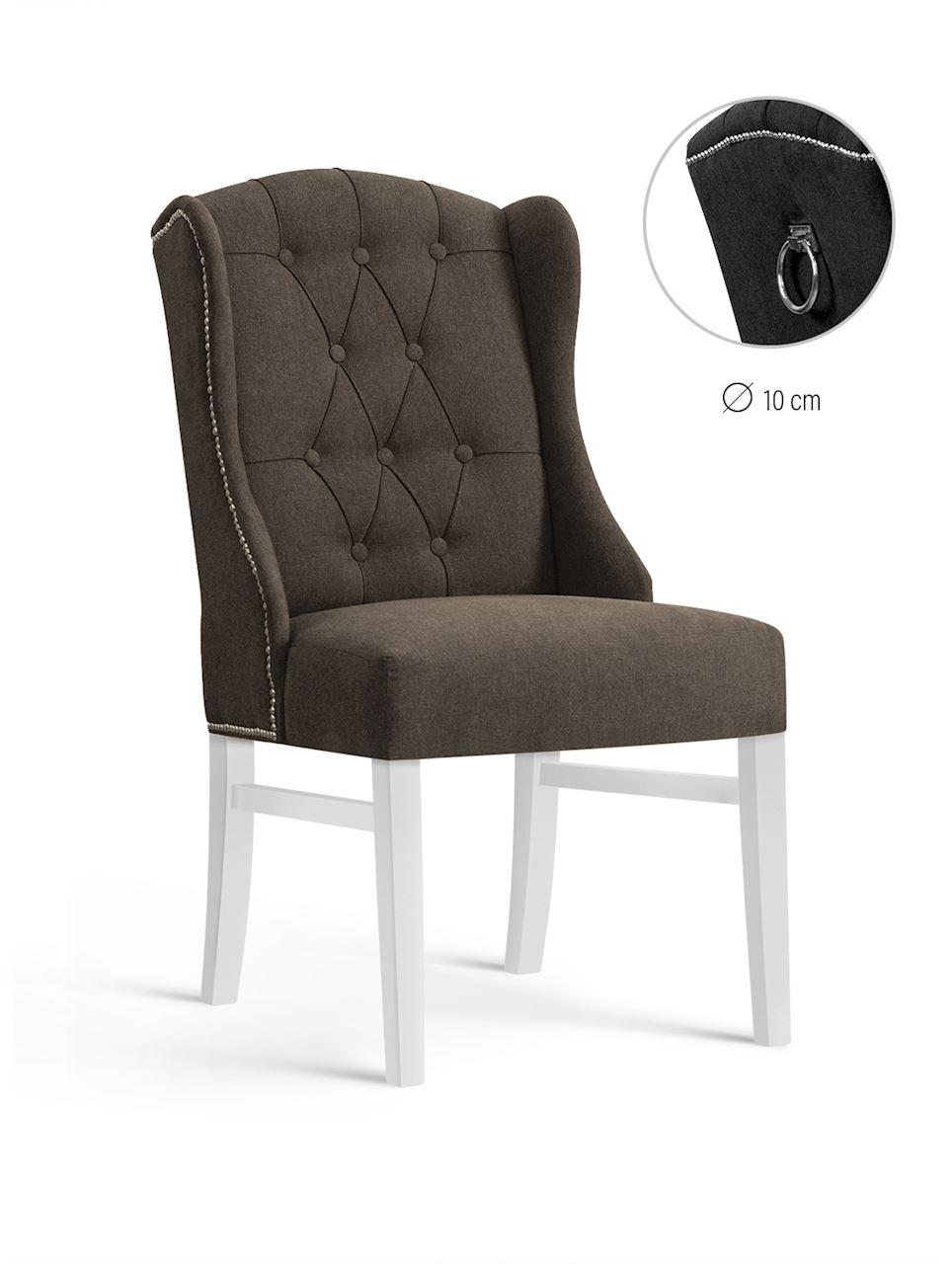 Scaun tapitat cu stofa, cu picioare din lemn Royal Brown / White, l55xA74xH105 cm