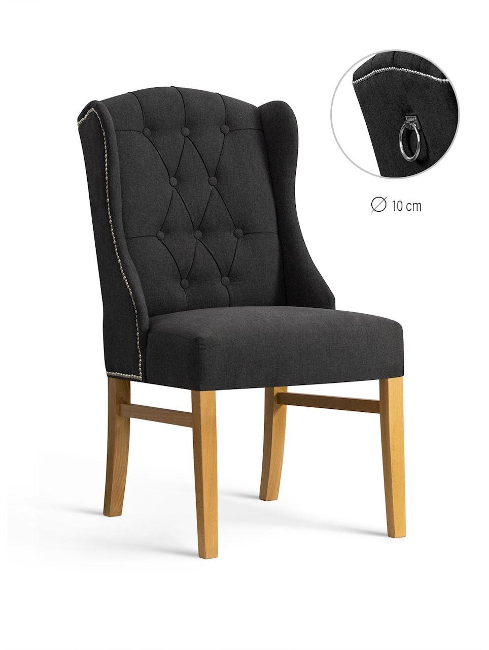 Scaun tapitat cu stofa, cu picioare din lemn Royal Graphite / Oak, l55xA74xH105 cm