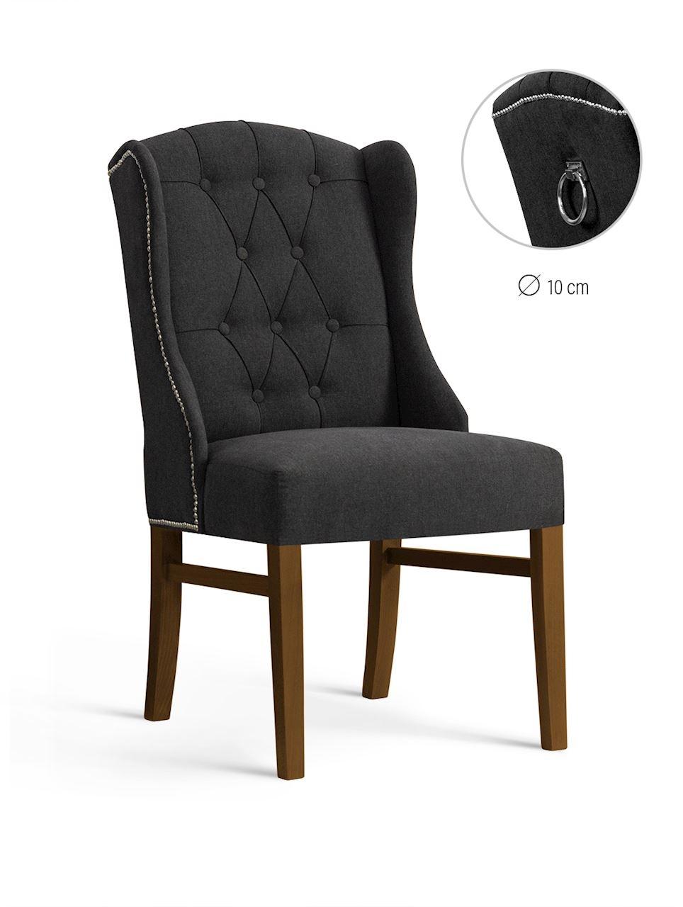 Scaun tapitat cu stofa, cu picioare din lemn Royal Graphite / Walnut, l55xA74xH105 cm
