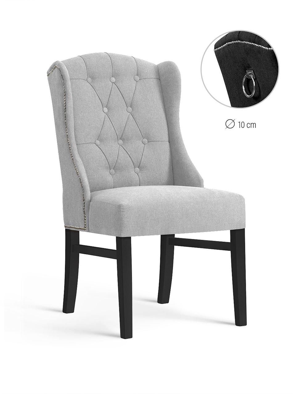Scaun tapitat cu stofa, cu picioare din lemn Royal Light Grey / Black, l55xA74xH105 cm