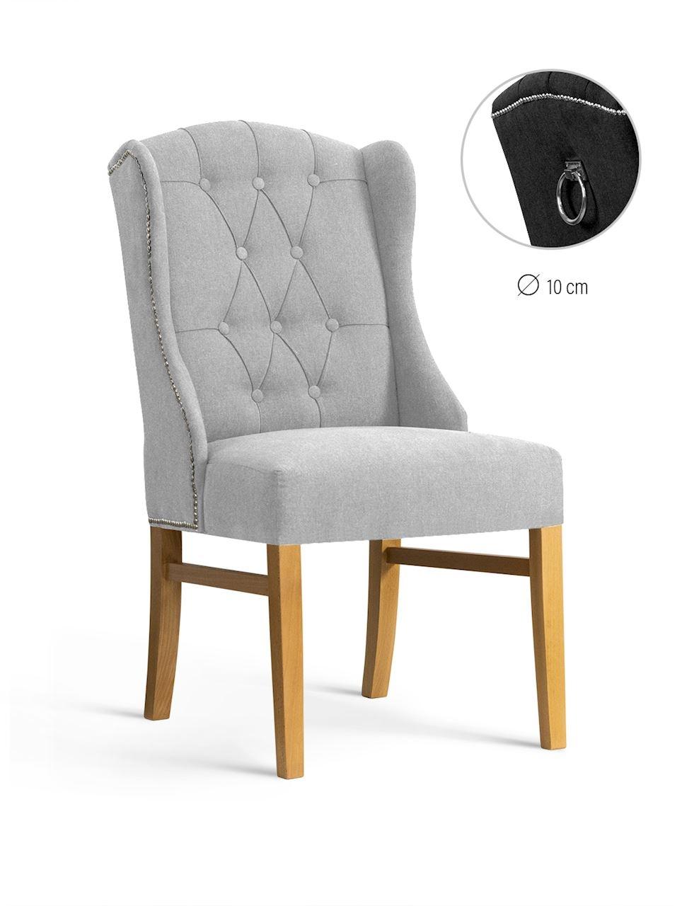 Scaun tapitat cu stofa, cu picioare din lemn Royal Light Grey / Oak, l55xA74xH105 cm