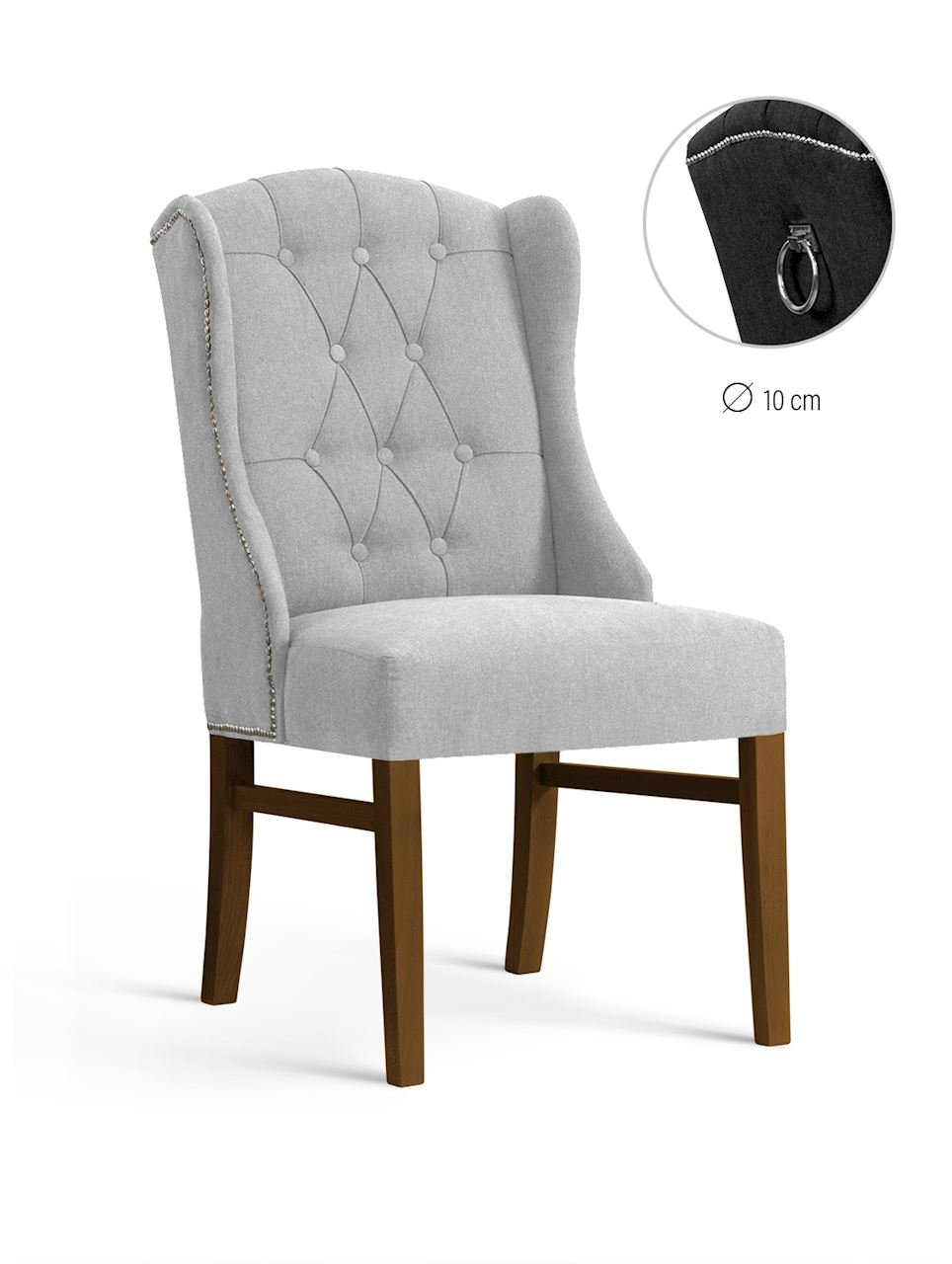 Scaun tapitat cu stofa, cu picioare din lemn Royal Light Grey / Walnut, l55xA74xH105 cm imagine