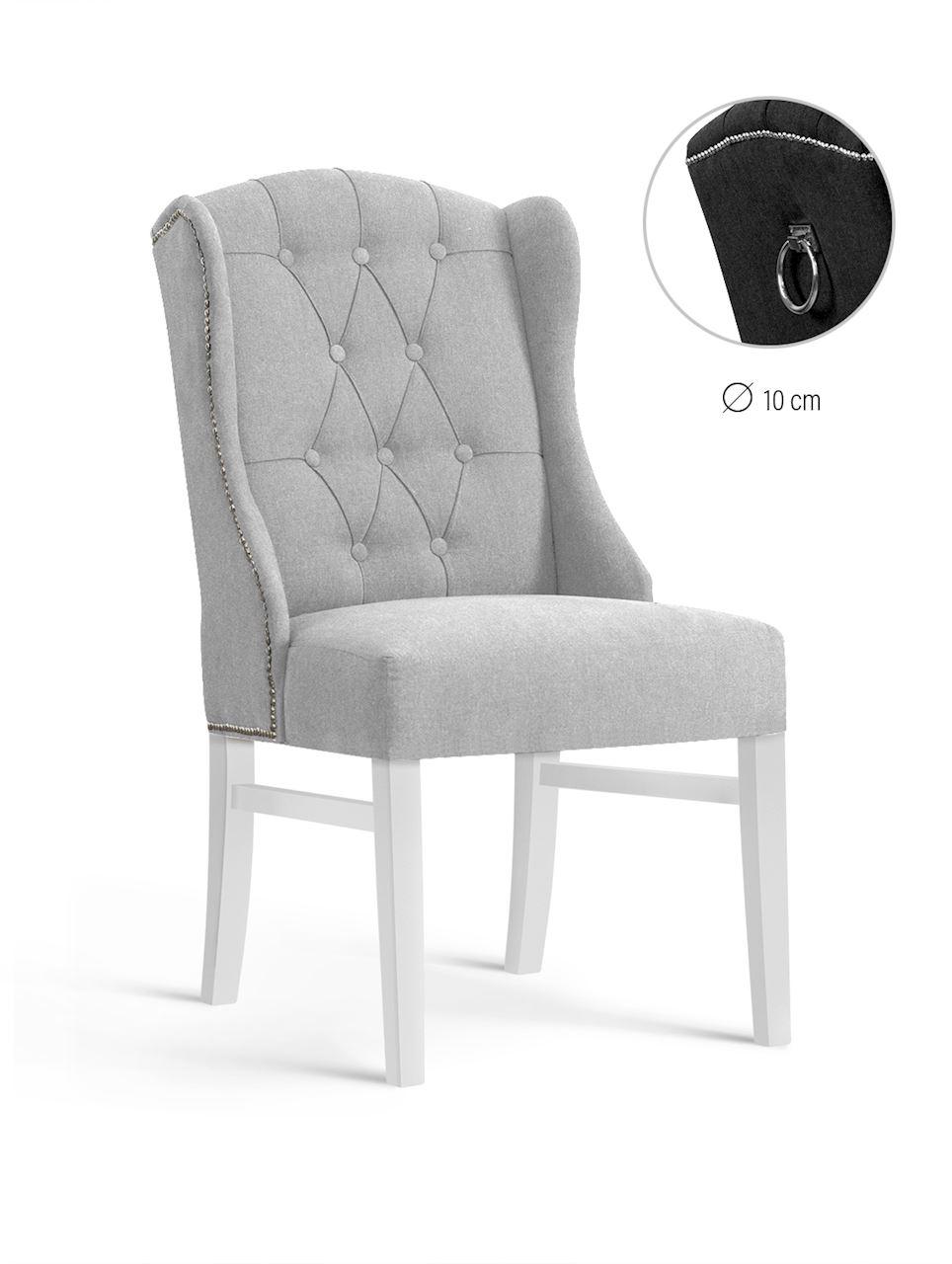 Scaun tapitat cu stofa, cu picioare din lemn Royal Light Grey / White, l55xA74xH105 cm