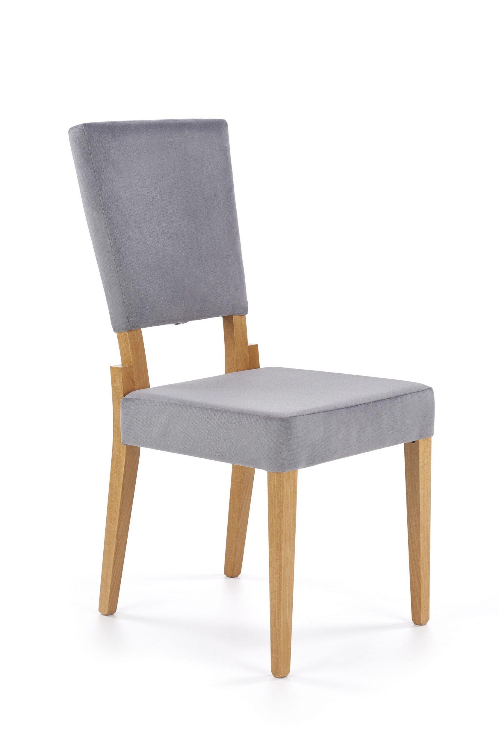 Scaun tapitat cu stofa, cu picioare din lemn Sorbus Gri / Stejar, l44xA57xH95 cm imagine