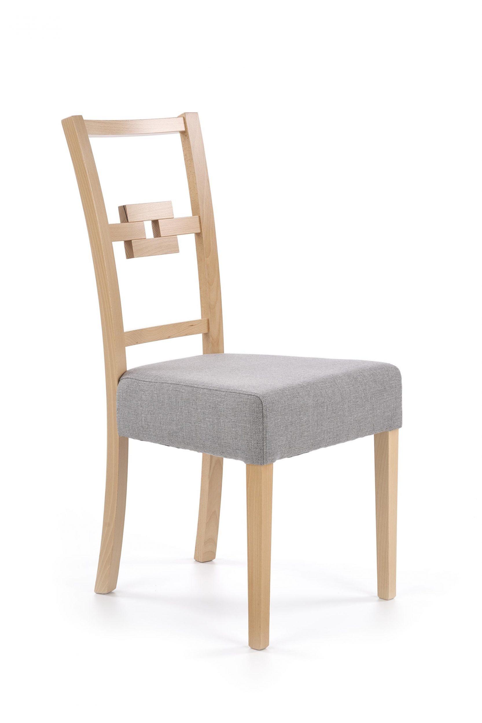 Scaun tapitat cu stofa, cu picioare din lemn Stan Gri / Stejar, l44xA58xH97 cm imagine