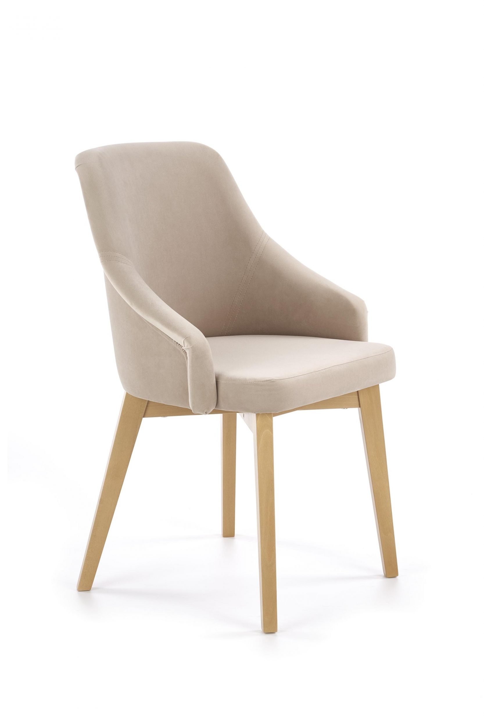 Scaun tapitat cu stofa, cu picioare din lemn Toledo 2 Bej / Stejar, l57xA56xH86 cm imagine