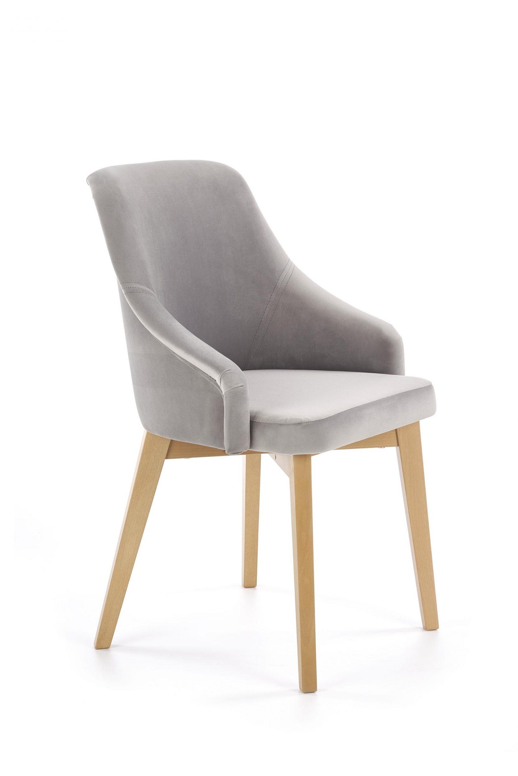 Scaun tapitat cu stofa, cu picioare din lemn Toledo 2 Gri / Stejar, l57xA56xH86 cm imagine