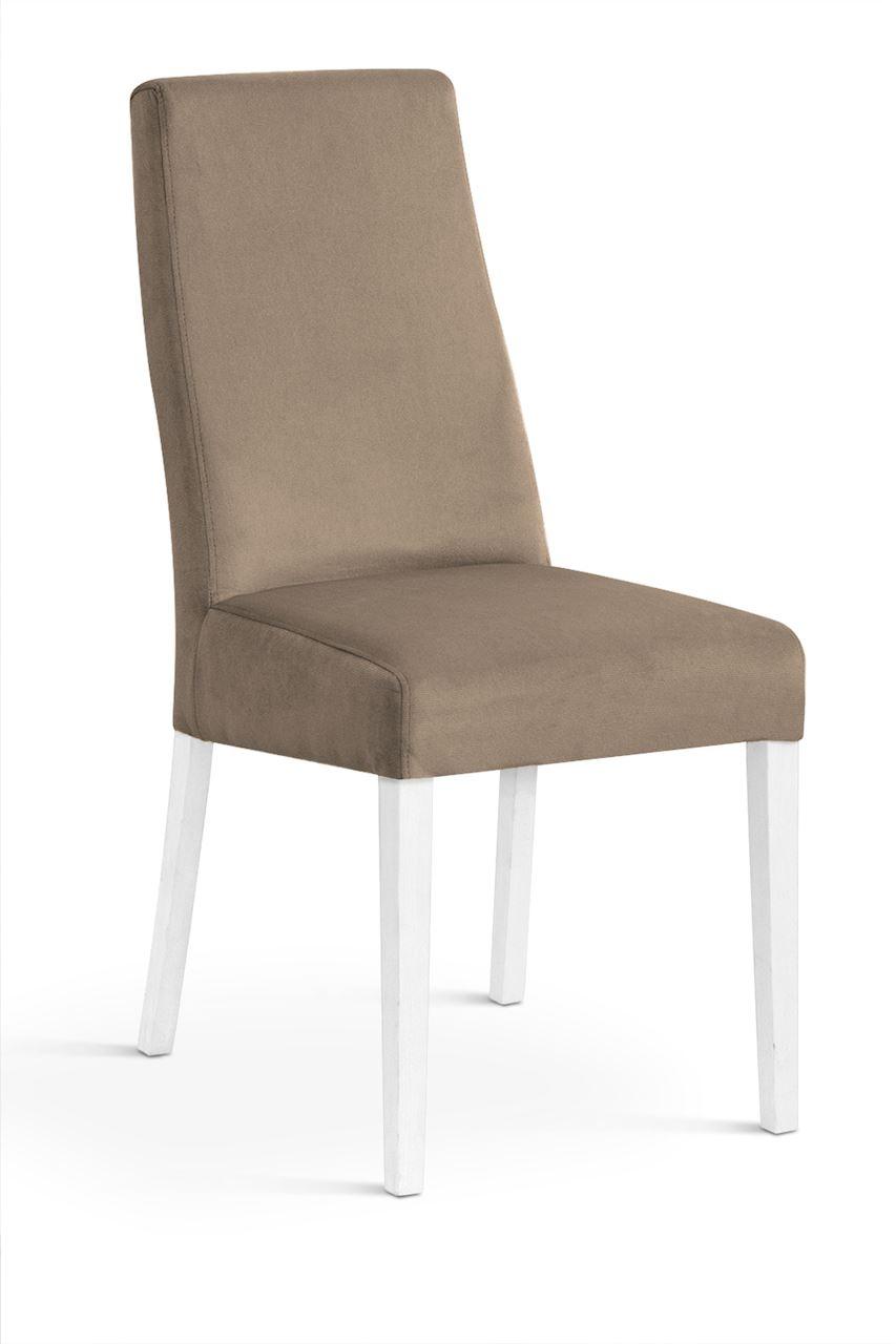 Scaun tapitat cu stofa cu picioare din lemn Villa Beige / White l47xA60xH97 cm