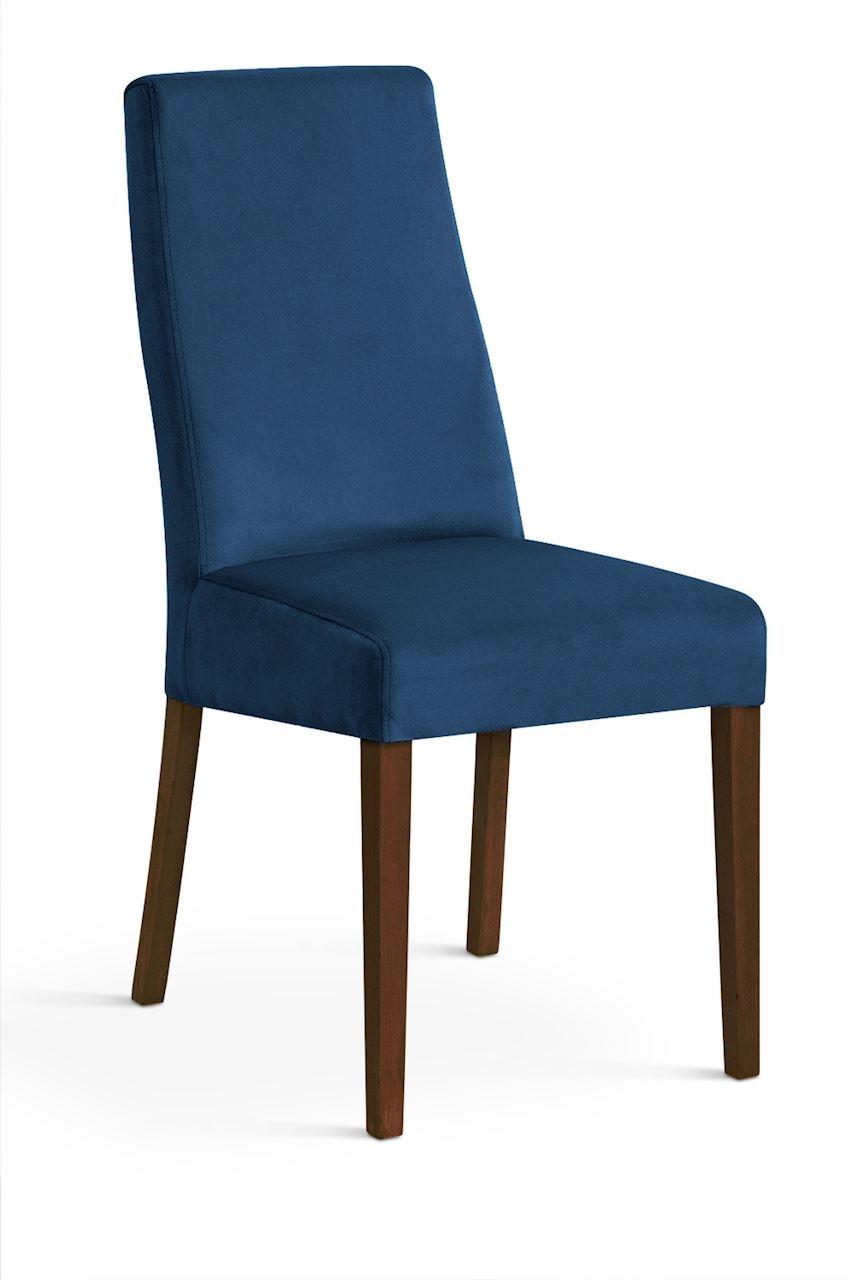Scaun tapitat cu stofa cu picioare din lemn Villa Navy Blue / Walnut l47xA60xH97 cm