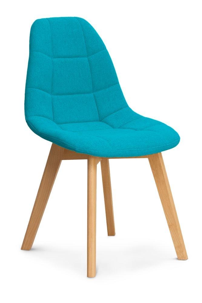 Scaun tapitat cu stofa, cu picioare din lemn Westa Blue / Beech, l49xA52xH83 cm