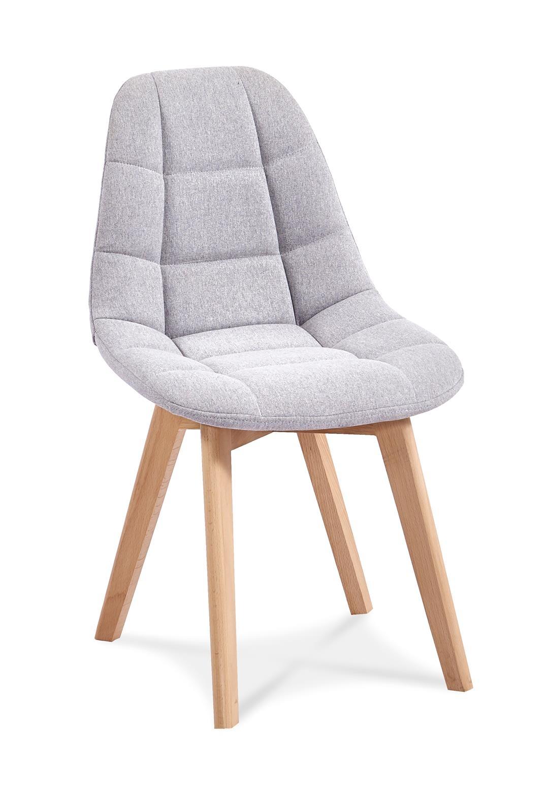 Scaun tapitat cu stofa, cu picioare din lemn Westa Light Grey / Beech, l49xA52xH83 cm