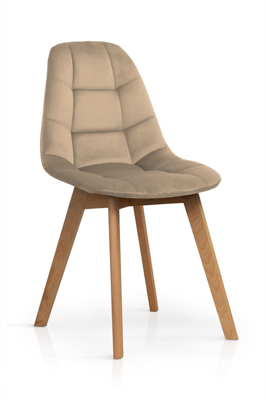 Scaun tapitat cu stofa, cu picioare din lemn Westa Velvet Cappuccino / Beech, l49xA52xH83 cm