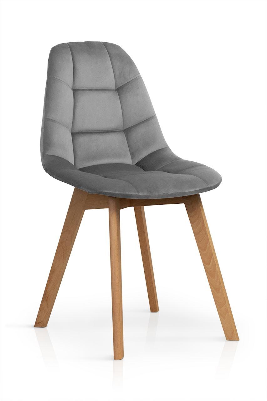 Scaun tapitat cu stofa, cu picioare din lemn Westa Velvet Dark Grey / Beech, l49xA52xH83 cm