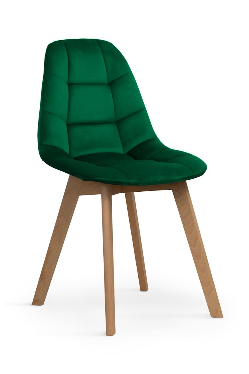 Scaun tapitat cu stofa, cu picioare din lemn Westa Velvet Green / Beech, l49xA52xH83 cm