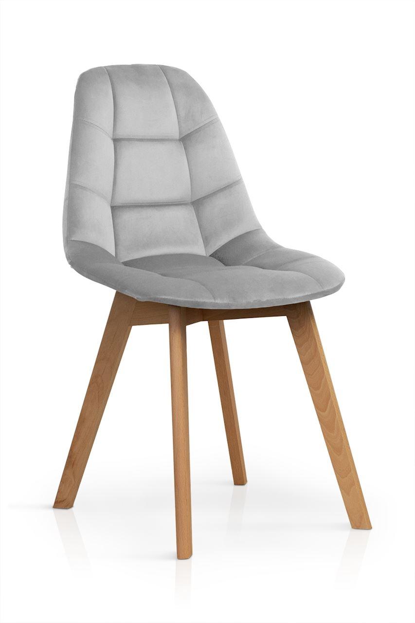 Scaun tapitat cu stofa, cu picioare din lemn Westa Velvet Light Grey / Beech, l49xA52xH83 cm
