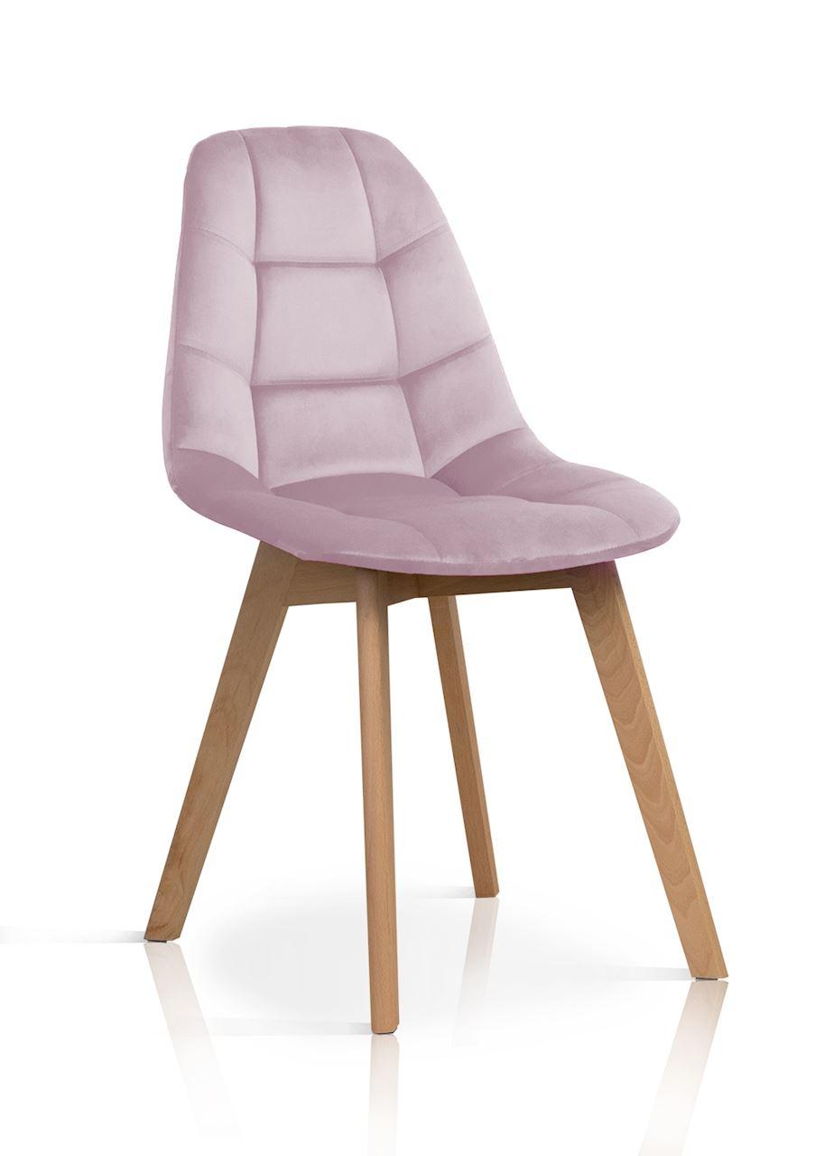 Scaun tapitat cu stofa, cu picioare din lemn Westa Velvet Pink / Beech, l49xA52xH83 cm