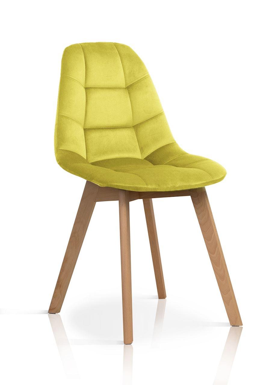 Scaun tapitat cu stofa, cu picioare din lemn Westa Velvet Yellow / Beech, l49xA52xH83 cm