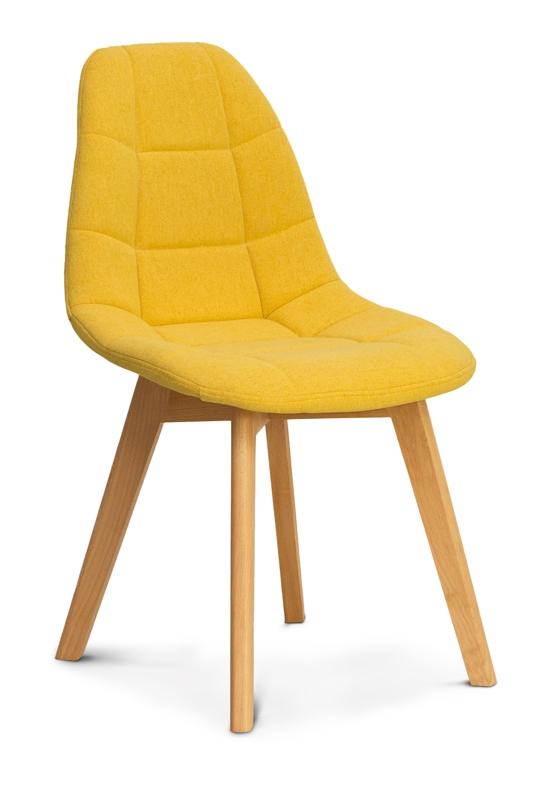 Scaun tapitat cu stofa, cu picioare din lemn Westa Yellow / Beech, l49xA52xH83 cm