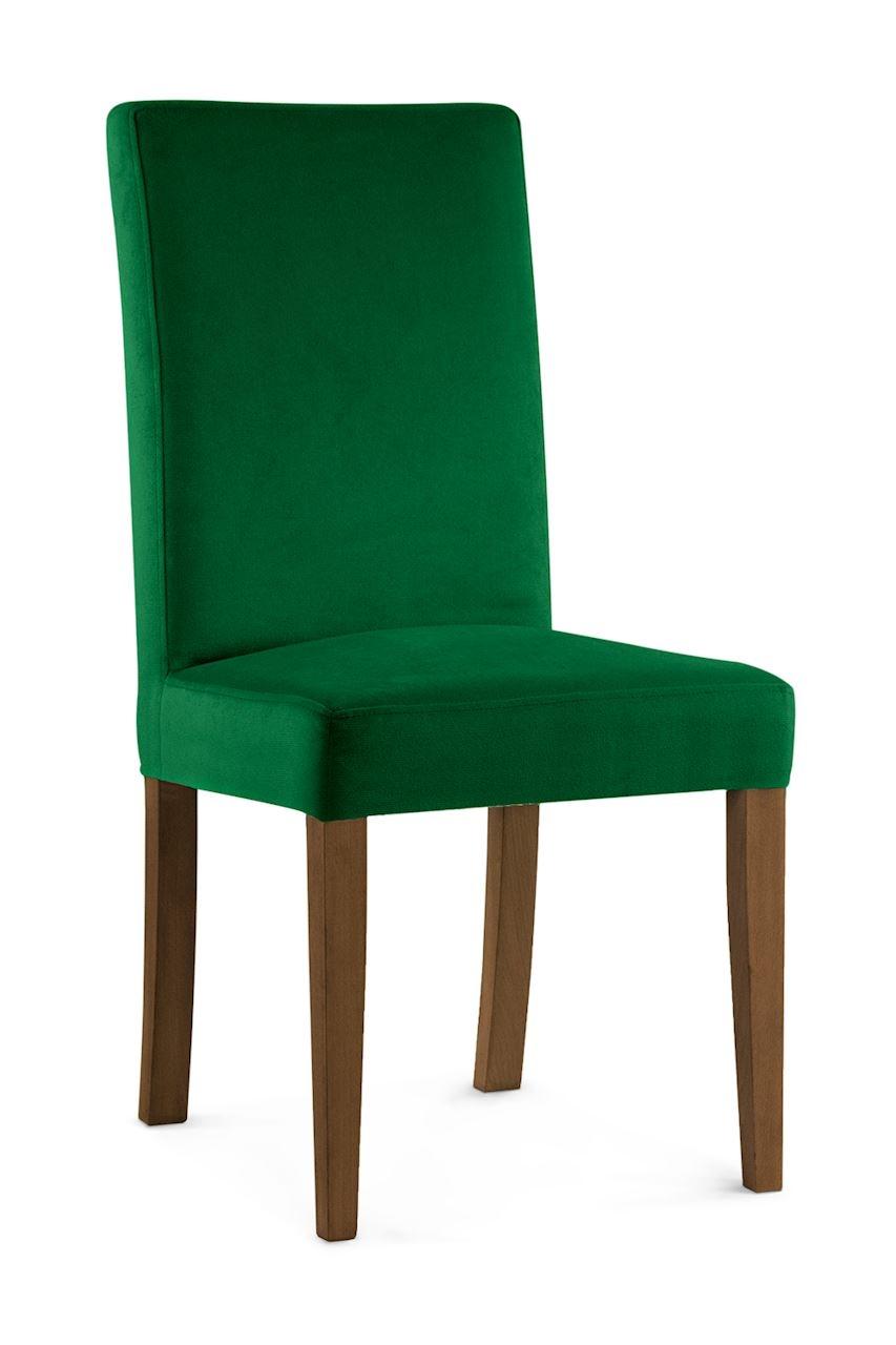 Scaun tapitat cu stofa cu picioare din lemn Willford Green / Walnut l47xA60xH97 cm