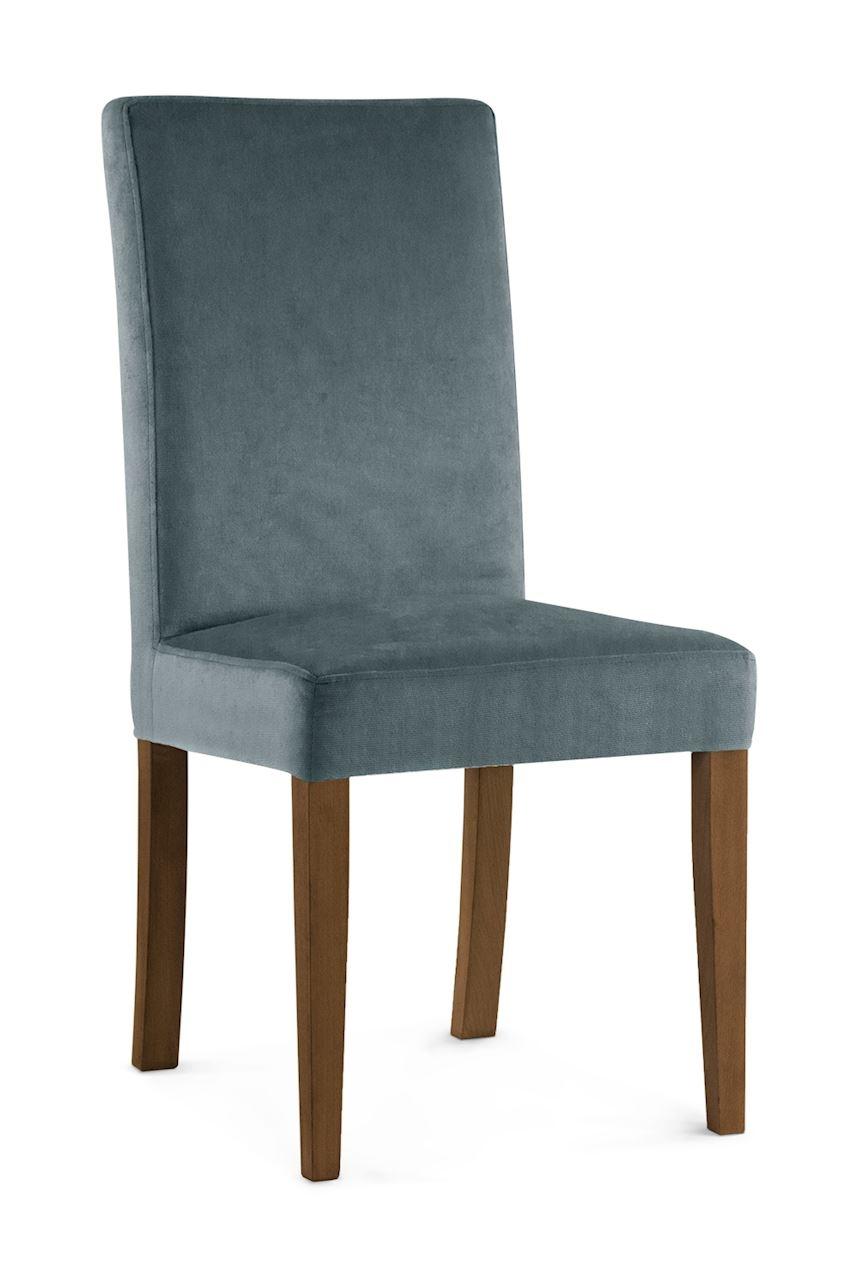 Scaun tapitat cu stofa cu picioare din lemn Willford Grey / Walnut l47xA60xH97 cm