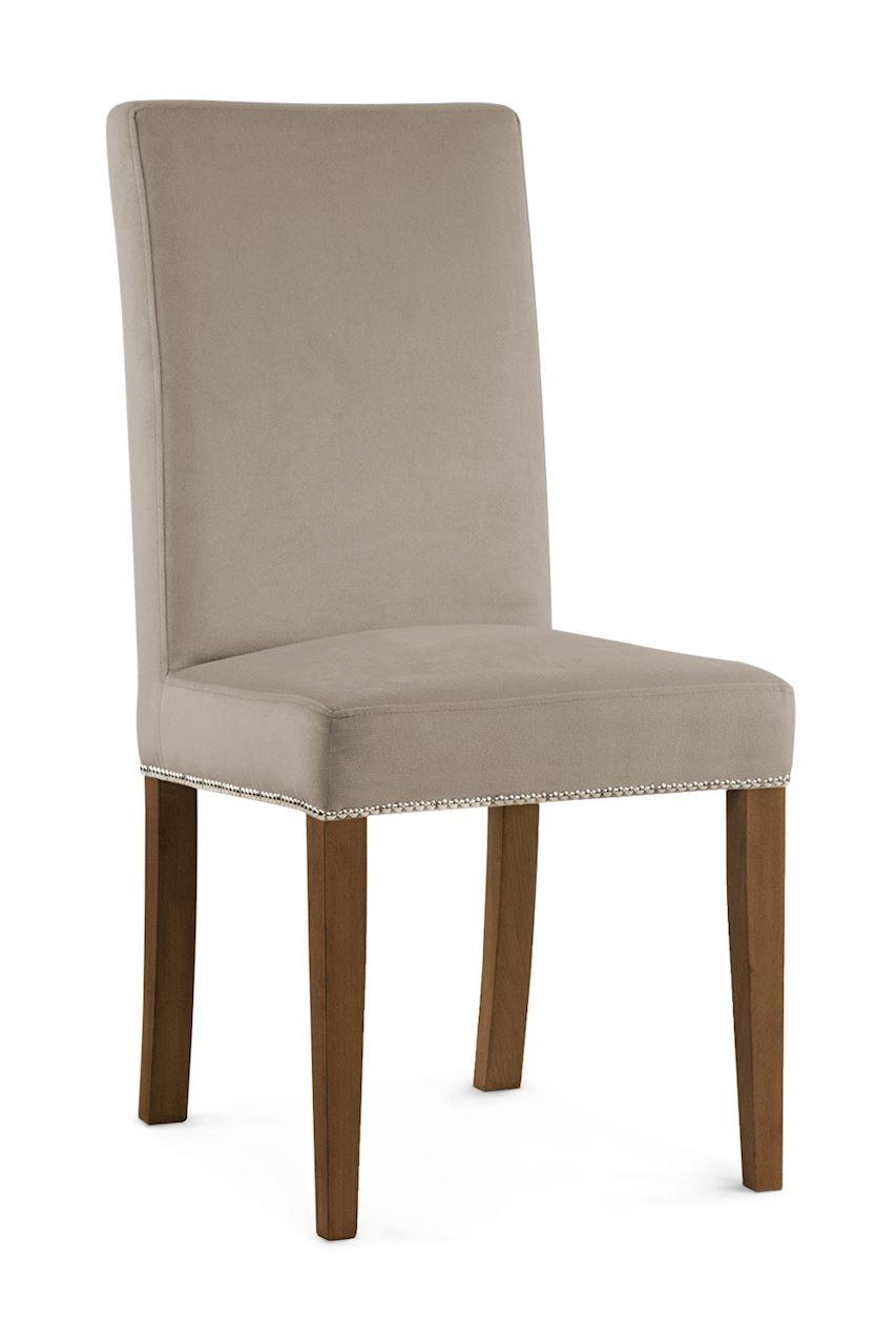 Scaun tapitat cu stofa cu picioare din lemn Willford II Beige / Walnut l47xA60xH97 cm