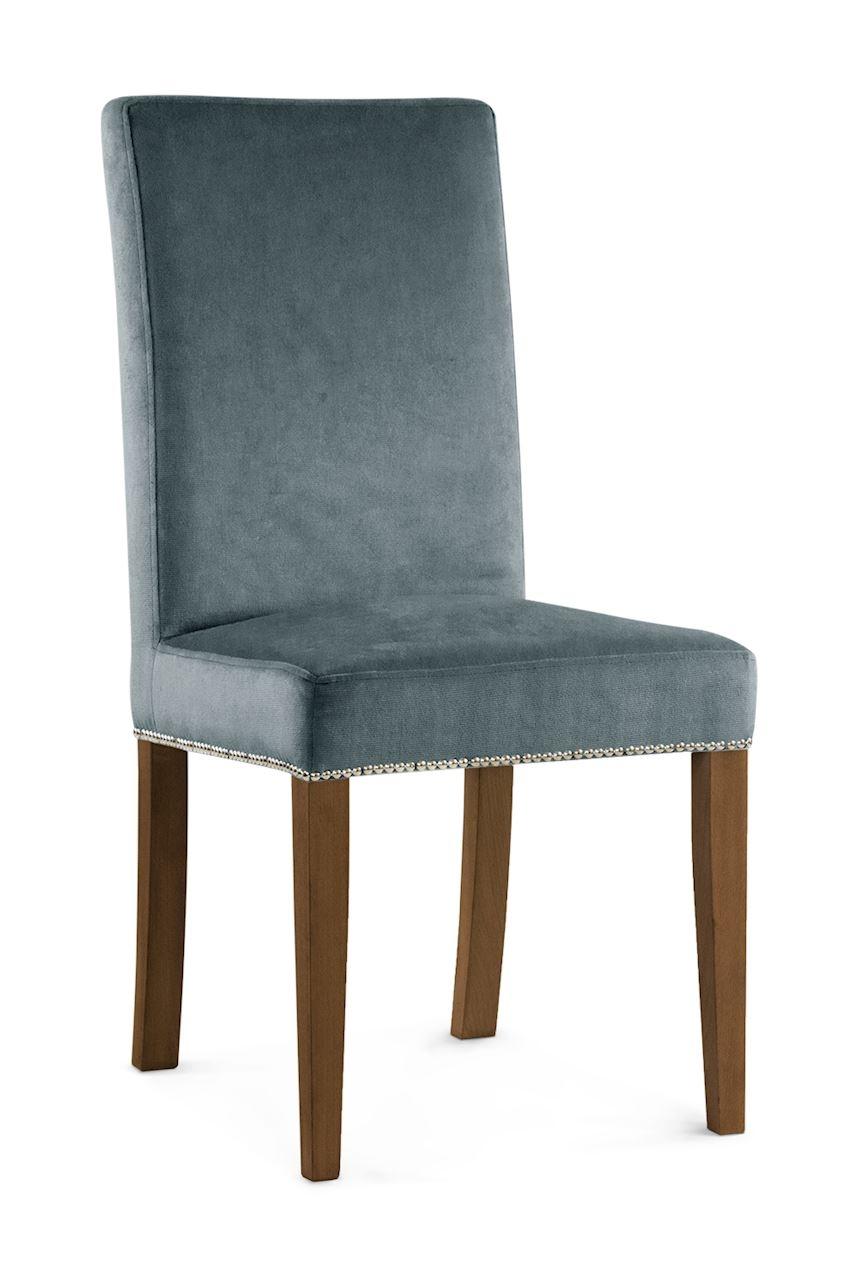 Scaun tapitat cu stofa cu picioare din lemn Willford II Grey / Walnut l47xA60xH97 cm