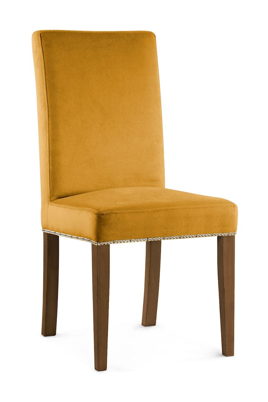 Scaun tapitat cu stofa cu picioare din lemn Willford II Honey / Walnut l47xA60xH97 cm