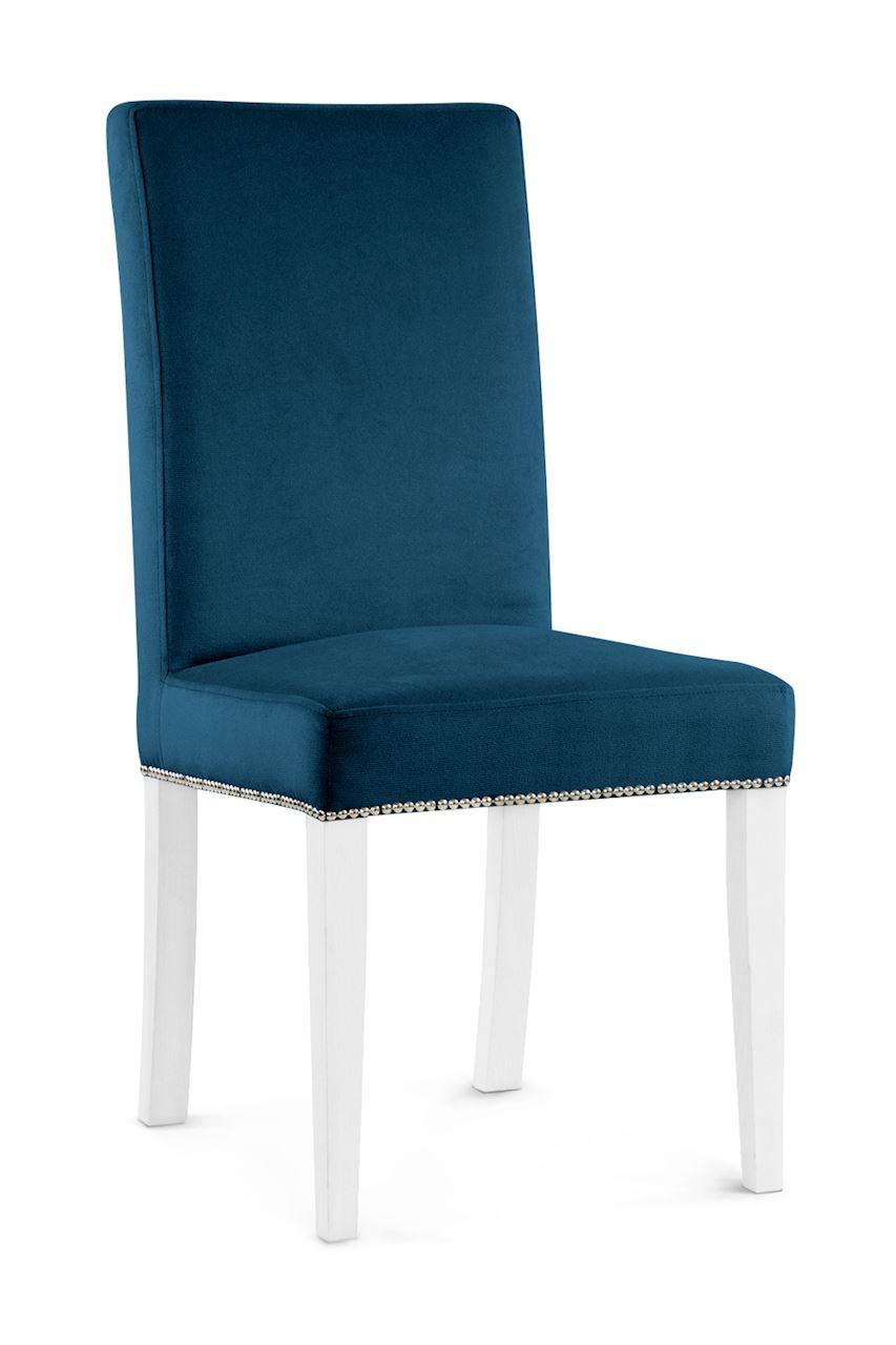 Scaun tapitat cu stofa cu picioare din lemn Willford II Navy Blue / White l47xA60xH97 cm