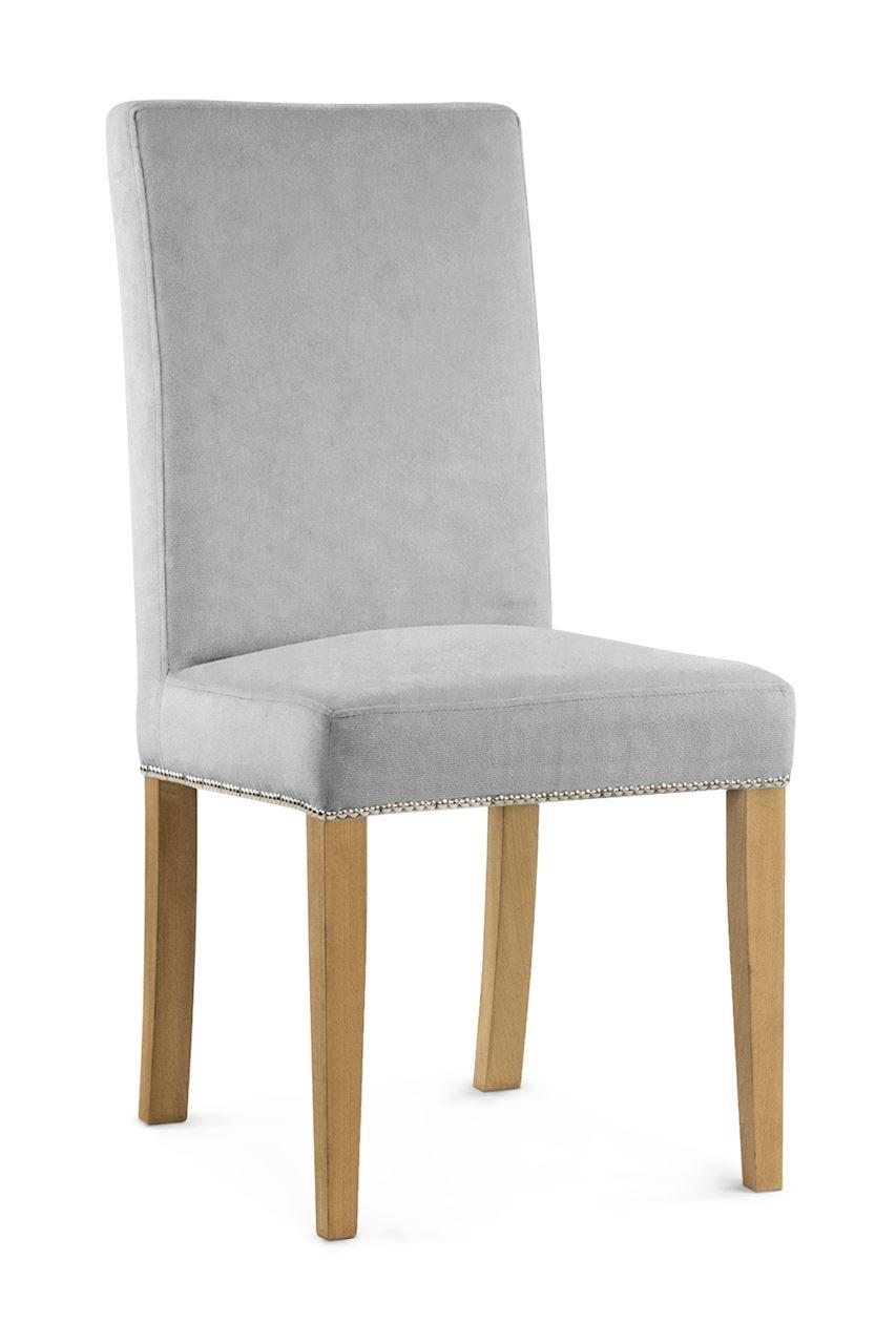 Scaun tapitat cu stofa cu picioare din lemn Willford II Silver / Oak l47xA60xH97 cm