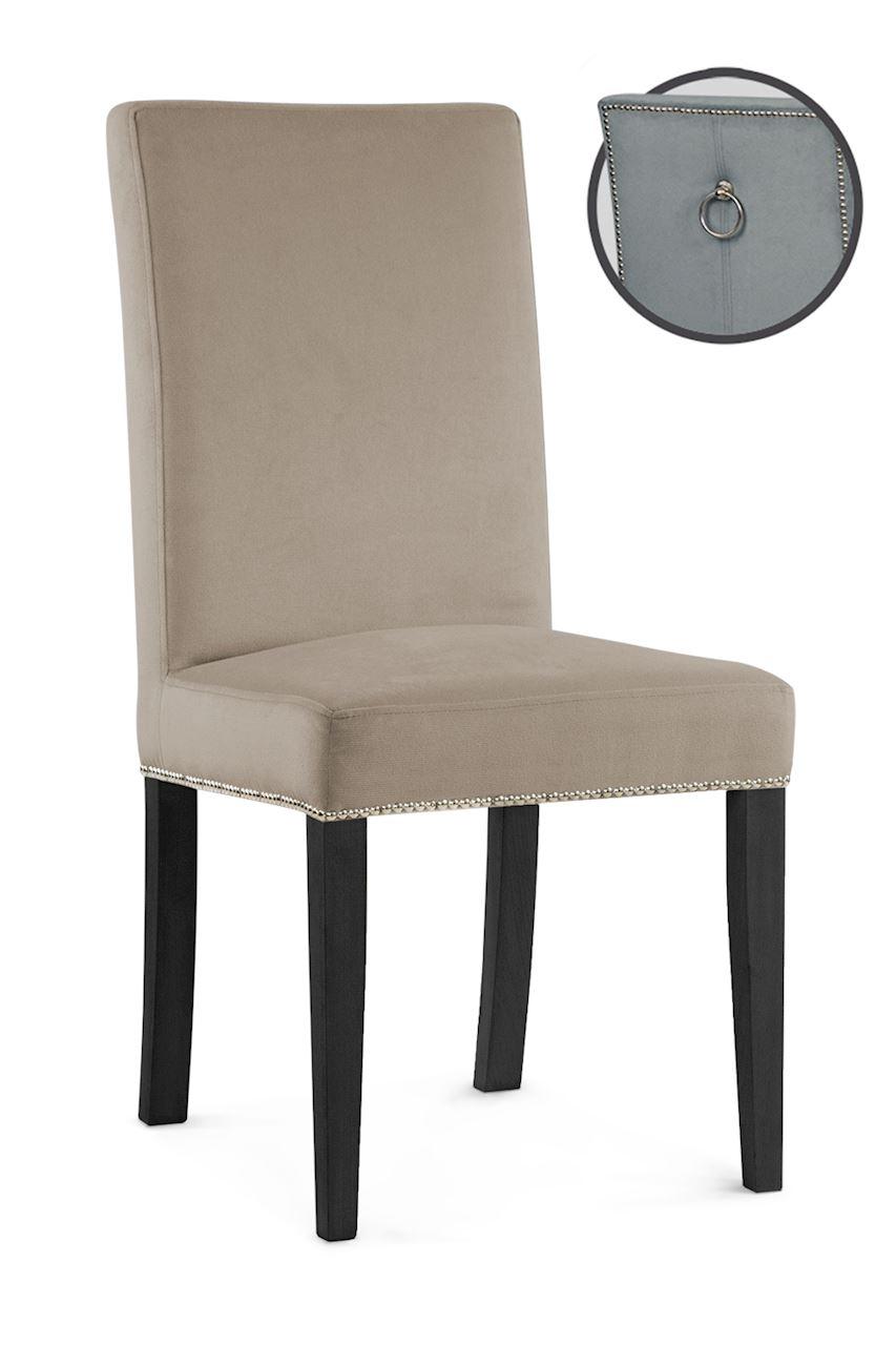 Scaun tapitat cu stofa cu picioare din lemn Willford III Beige / Black l47xA60xH97 cm