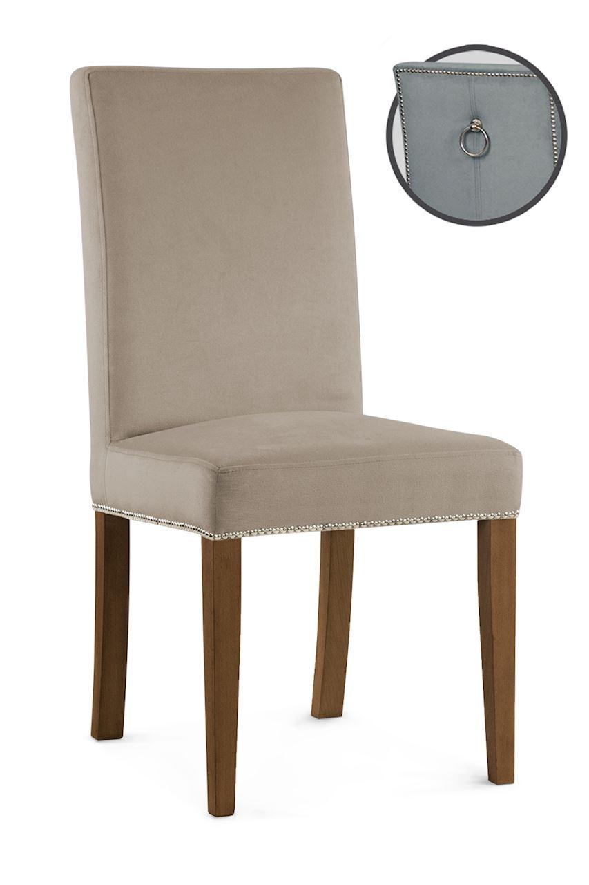 Scaun tapitat cu stofa cu picioare din lemn Willford III Beige / Walnut l47xA60xH97 cm