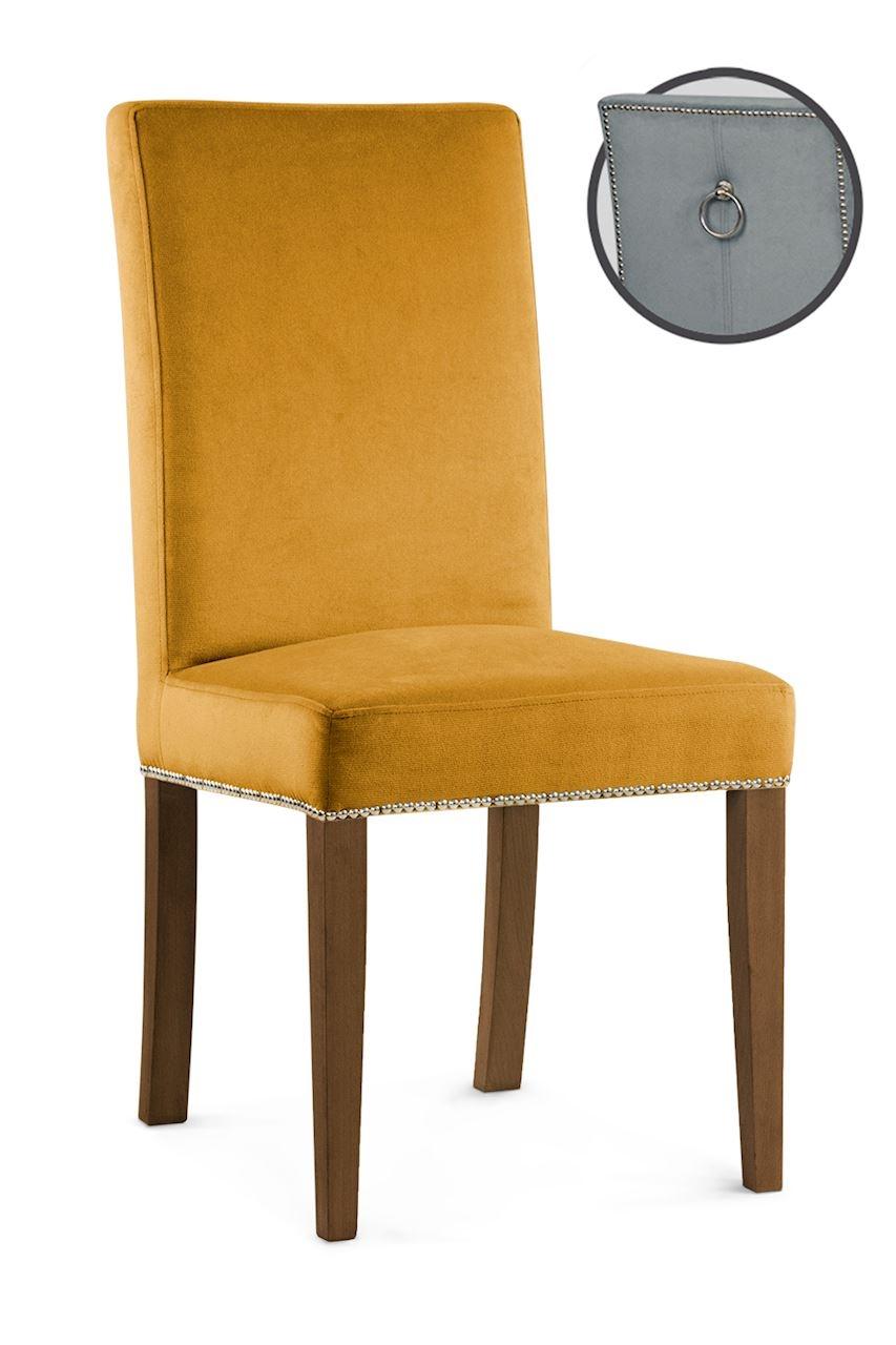 Scaun tapitat cu stofa cu picioare din lemn Willford III Honey / Walnut l47xA60xH97 cm