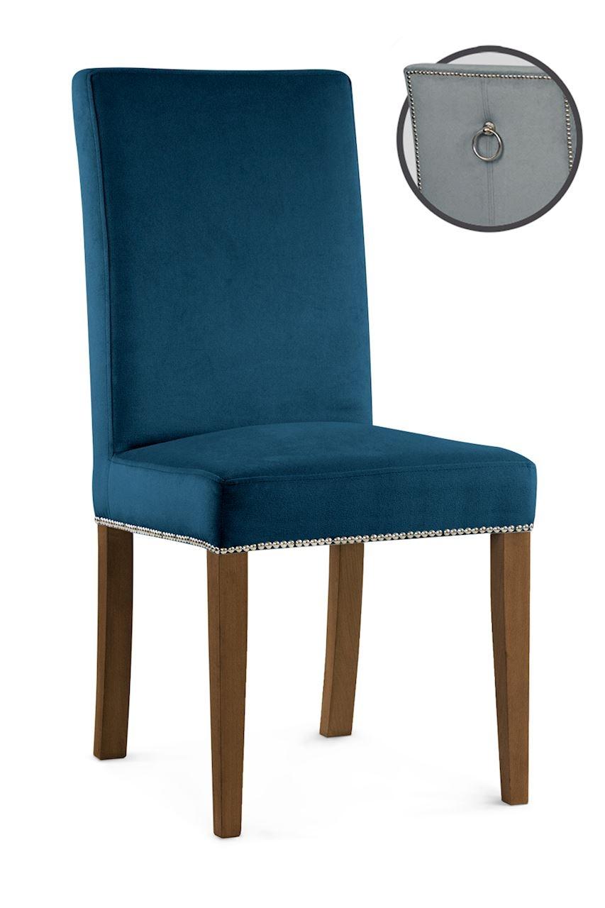 Scaun tapitat cu stofa cu picioare din lemn Willford III Navy Blue / Walnut l47xA60xH97 cm