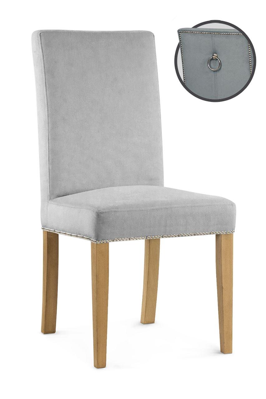 Scaun tapitat cu stofa cu picioare din lemn Willford III Silver / Oak l47xA60xH97 cm