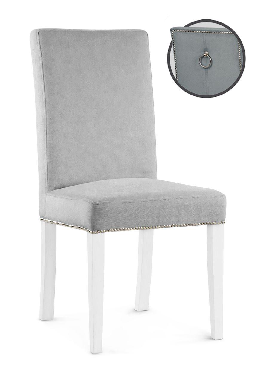 Scaun tapitat cu stofa cu picioare din lemn Willford III Silver / White l47xA60xH97 cm