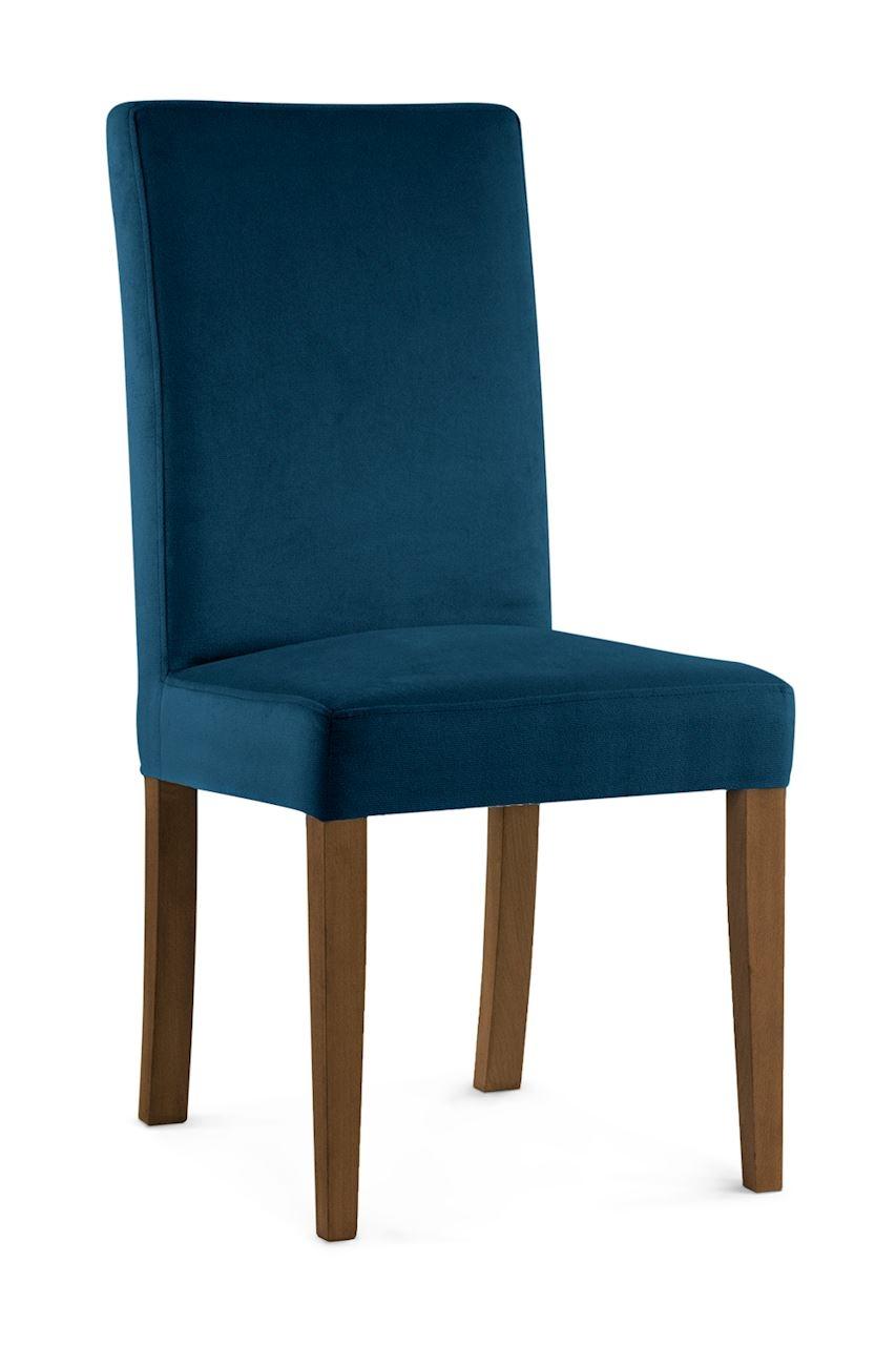 Scaun tapitat cu stofa cu picioare din lemn Willford Navy Blue / Walnut l47xA60xH97 cm