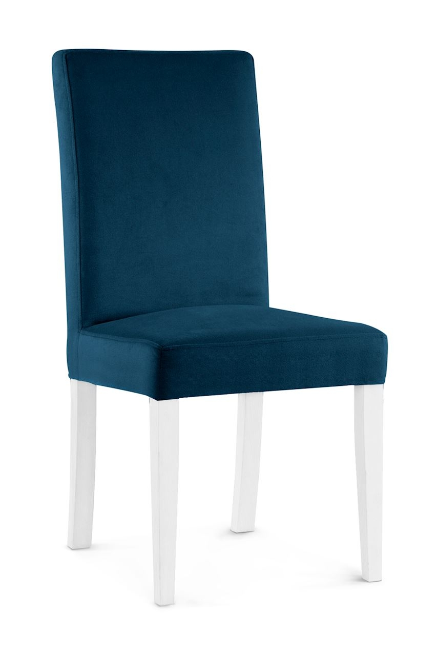 Scaun tapitat cu stofa cu picioare din lemn Willford Navy Blue / White l47xA60xH97 cm