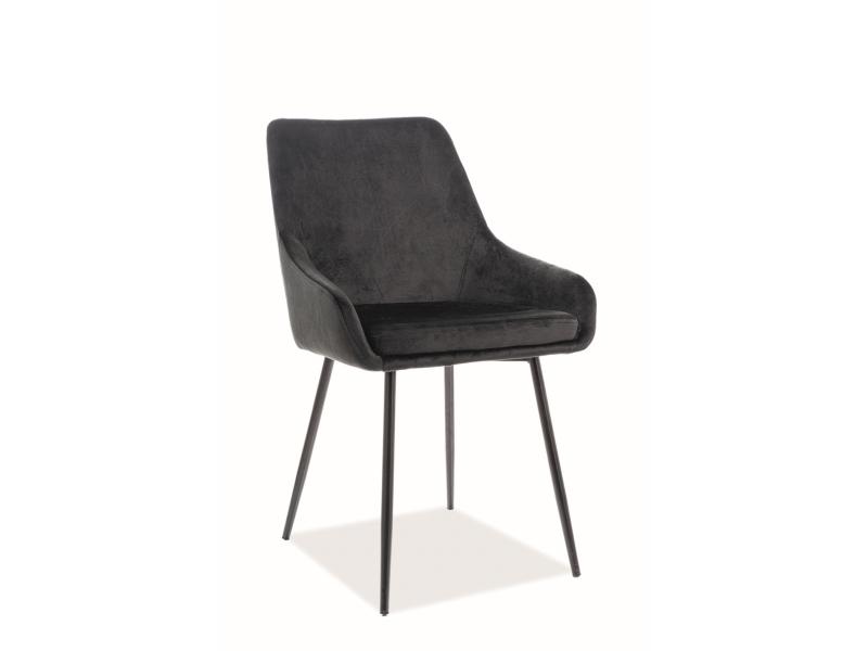 Scaun tapitat cu stofa, cu picioare din metal Albi Velvet Negru, l50xA58xH82 cm