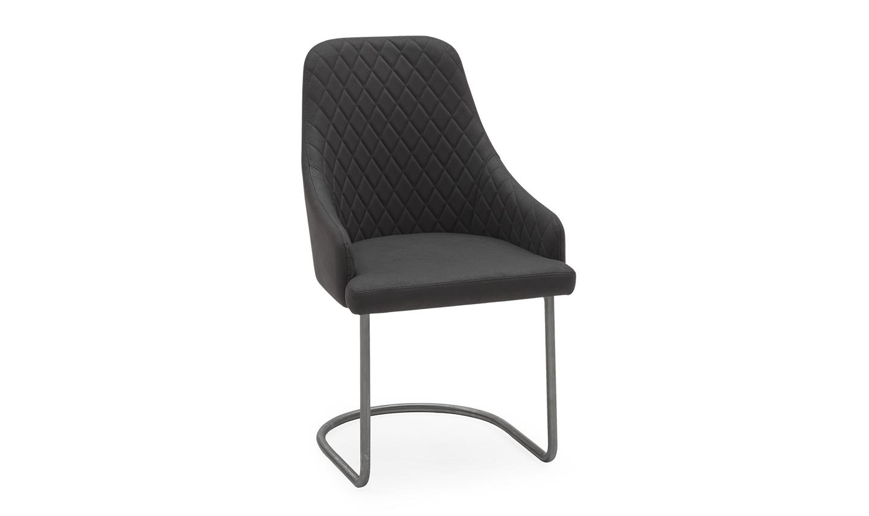 Set 2 scaune tapitate cu stofa cu picioare din metal Urbino Grey l535xA625xH92 cm
