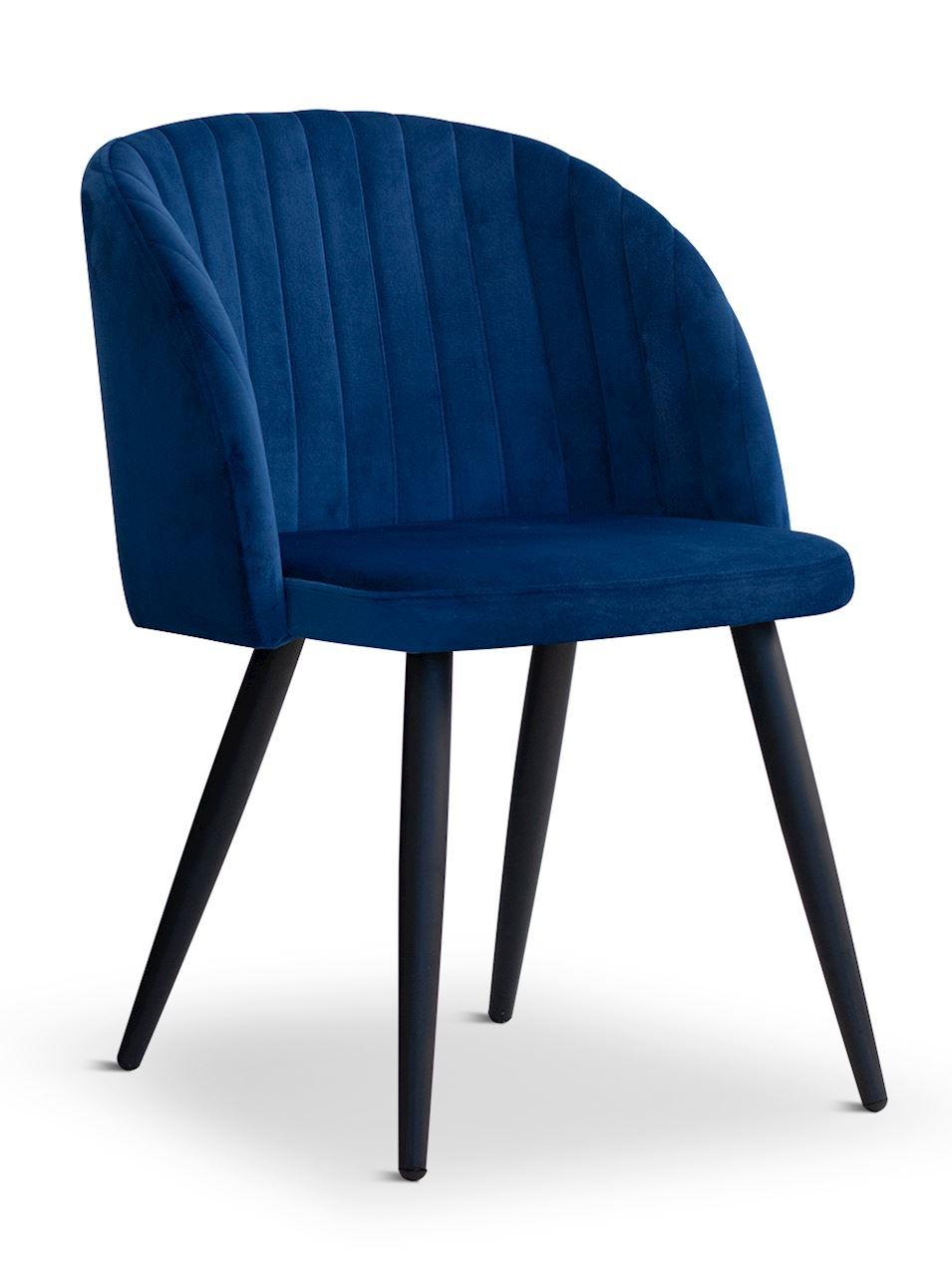 Scaun tapitat cu stofa, cu picioare metalice Adele Blue / Black, l57xA67xH83 cm