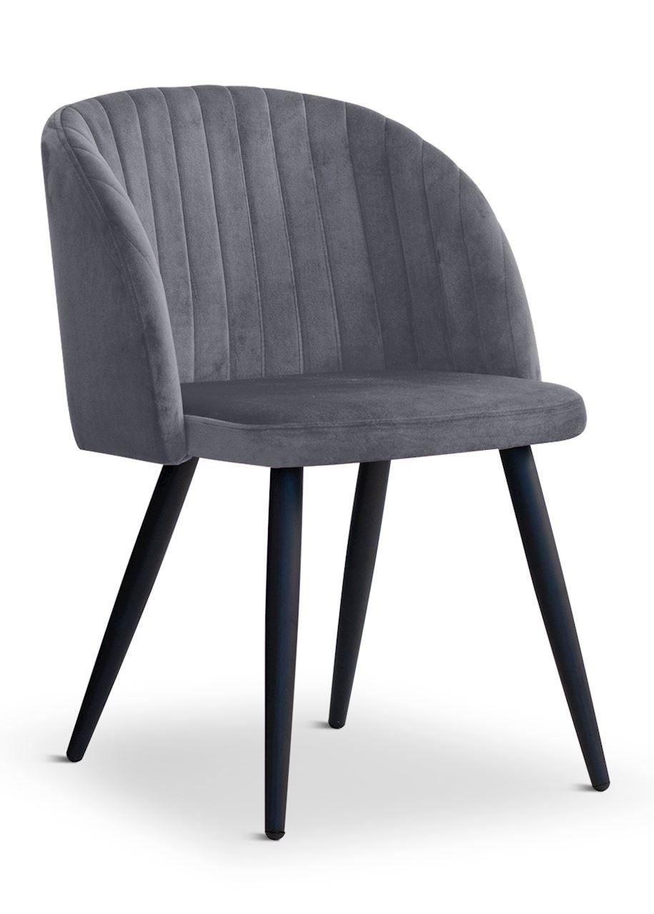 Scaun tapitat cu stofa, cu picioare metalice Adele Dark Grey / Black, l57xA67xH83 cm