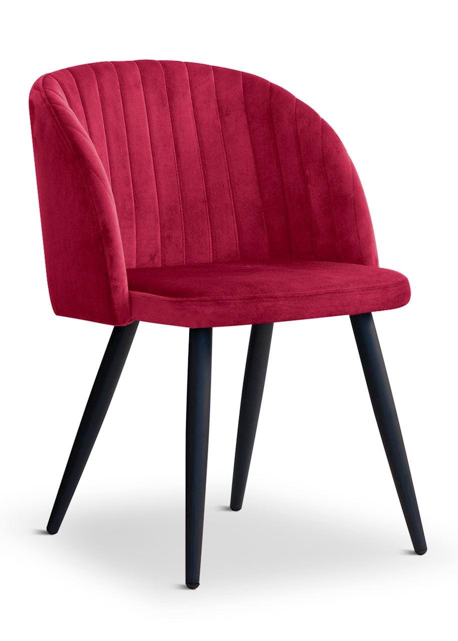 Scaun tapitat cu stofa, cu picioare metalice Adele Dark Red / Black, l57xA67xH83 cm