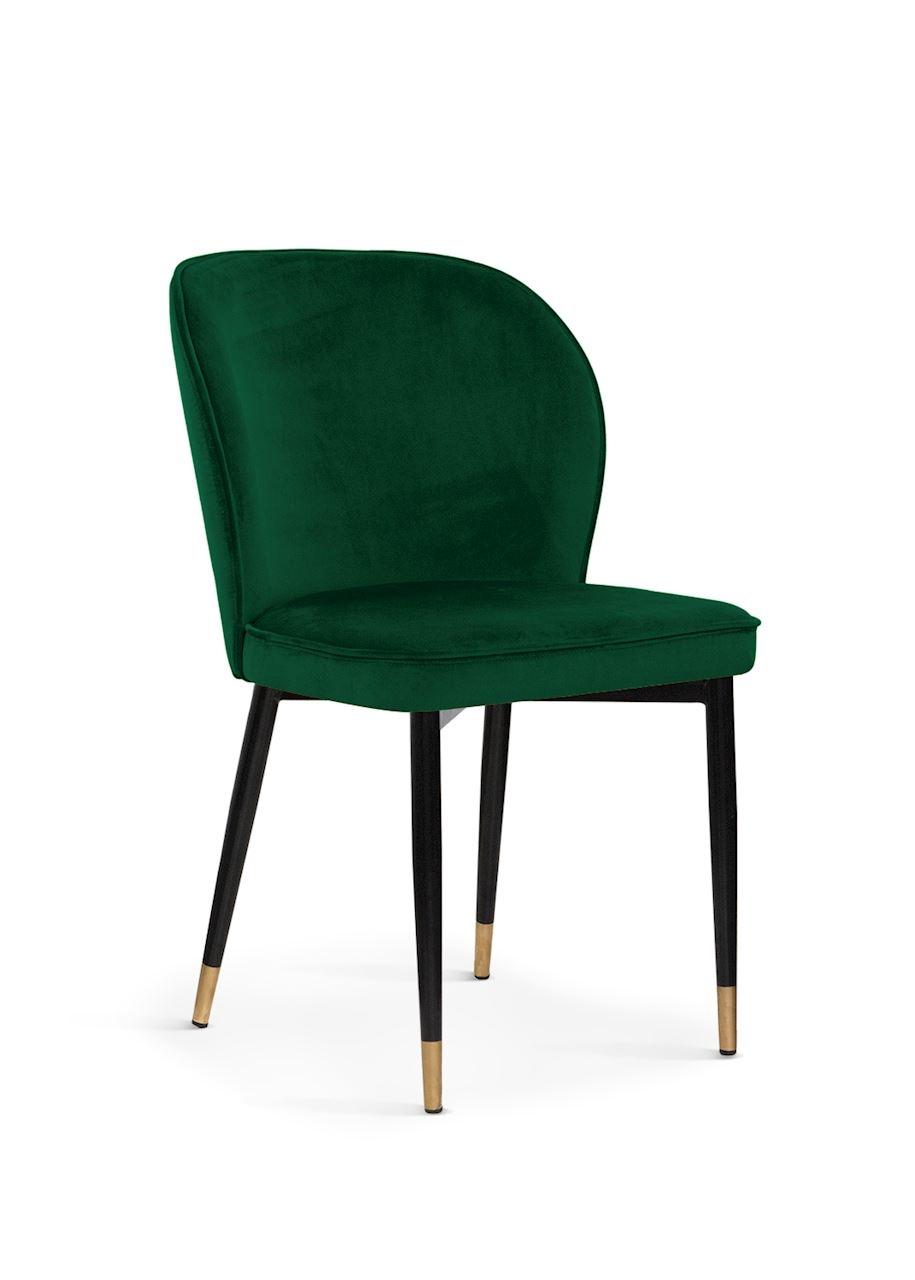 Scaun tapitat cu stofa, cu picioare metalice Aine Green / Black / Gold, l54xA61xH87 cm